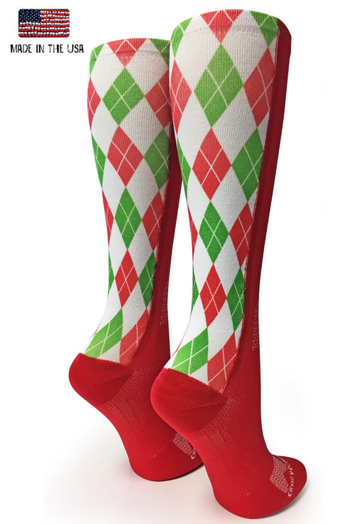 Red Holiday Argyle - CrazyCompression.com
