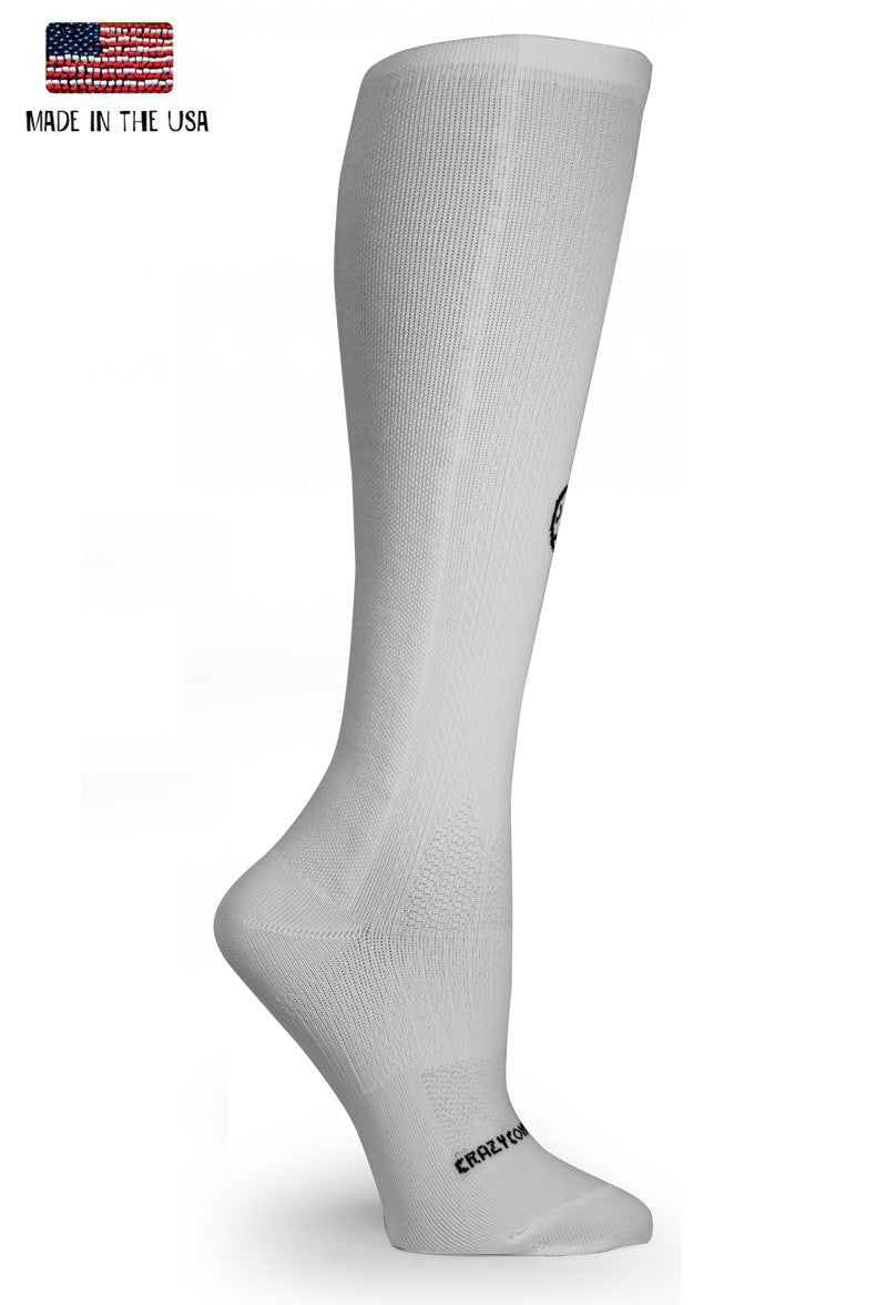 White OTC Solid Compression Socks - CrazyCompression.com