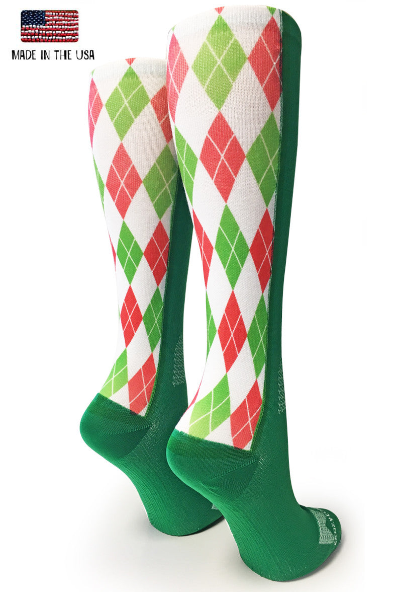 Green Holiday Argyle - CrazyCompression.com