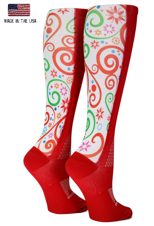 Red OTC Holiday Swirls - CrazyCompression.com