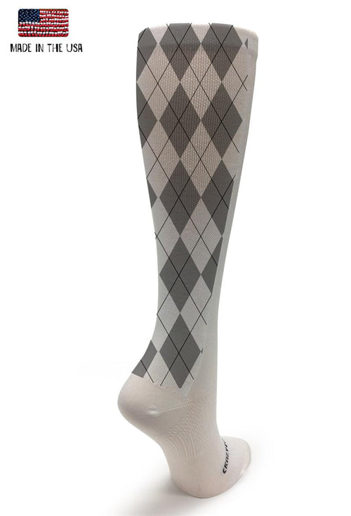 White OTC Gray Argyle - CrazyCompression.com