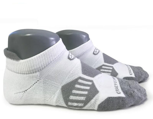 Classic White & Gray Runners - Elite Running Socks - CrazyCompression.com