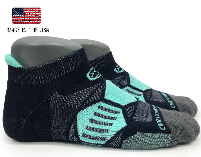Navy & Mint Runners - Elite Compression Running Socks - CrazyCompression.com