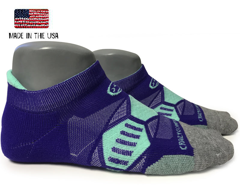 Purple & Mint Runners - Elite Compression Running Socks - CrazyCompression.com