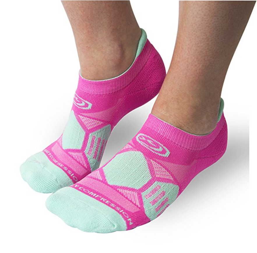 Power Pink & Mighty Mint Runners - Elite Compression Running Socks - CrazyCompression.com