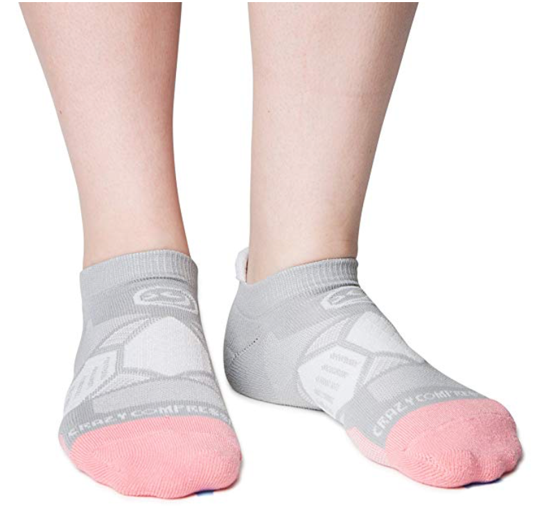 Gray & Peach Runners - Elite Running Socks - CrazyCompression.com