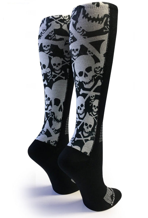 Black OTC Skull & Bones Compression Socks - CrazyCompression.com