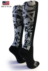 Black Skull & Bones Compression Socks