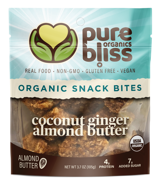 Organic Almond Butter Snack Bites- Coconut Ginger