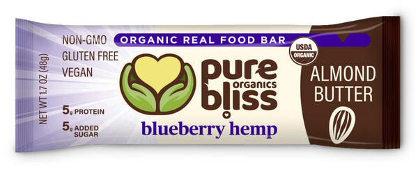 Organic Almond Butter Bars - Blueberry Hemp (Case of 12)