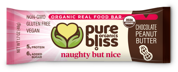 Organic Chocolate Peanut Butter Bars - Naughty But Nice (Case of 12)