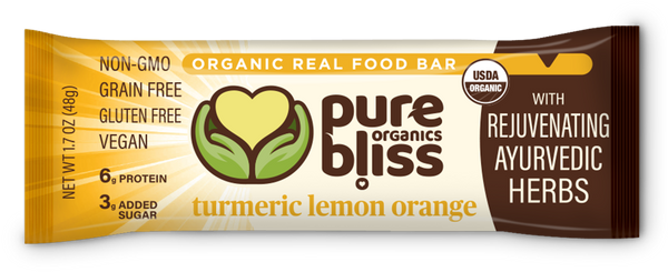 Organic Ayurvedic Herb Bars - Turmeric Lemon Orange (Case of 12)