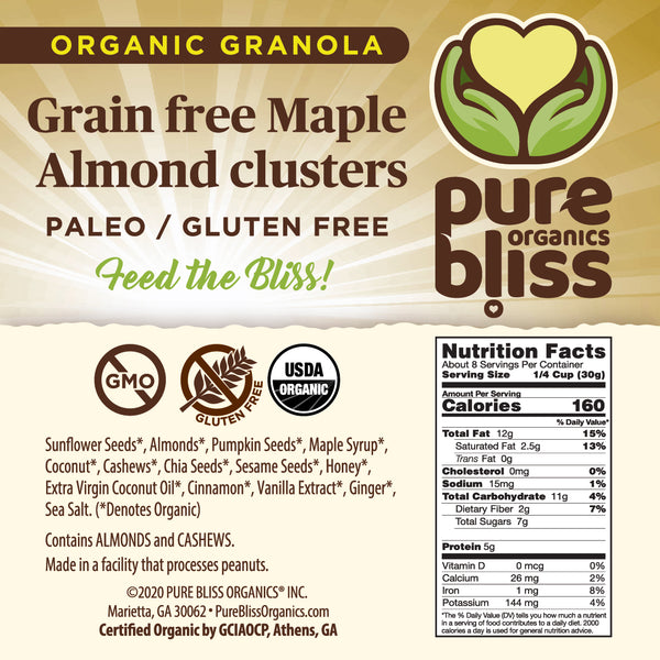 Organic Grain Free Granola- Maple Almond Clusters