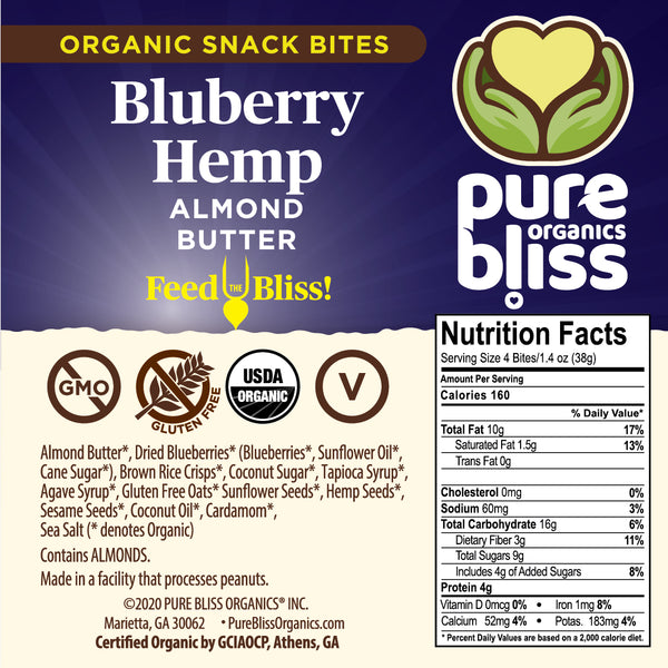 Organic Almond Butter Snack Bites- Blueberry Hemp