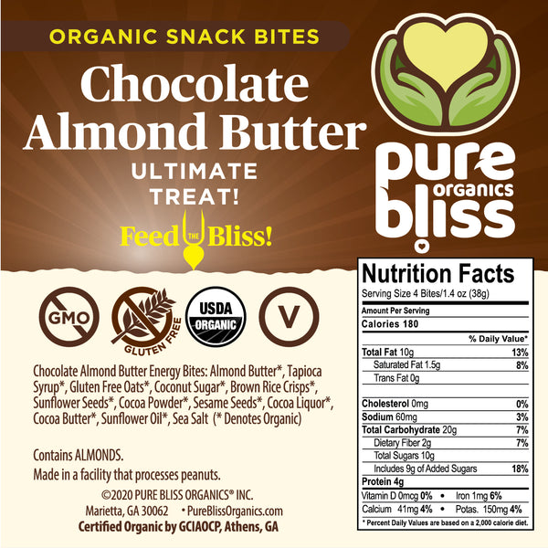 Organic Chocolate Almond Butter Snack Bites