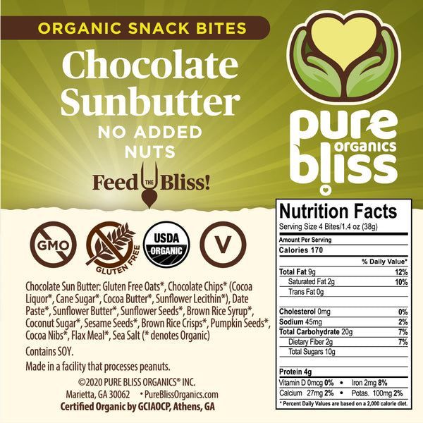 Organic Chocolate Sunbutter Snack Bites (no added nuts)