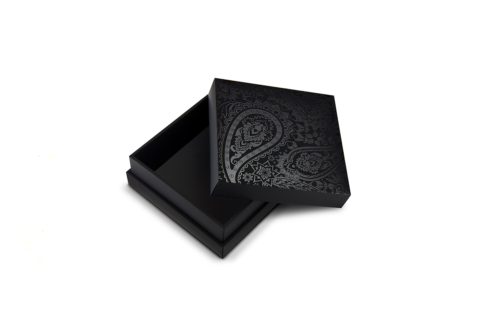 Black removable lid box with pattern printed on the cover of the box