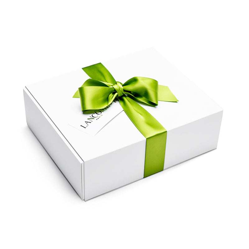 Hand made luxury gift box with white removable lid, green ribbon and custom made insert for cosmetic products