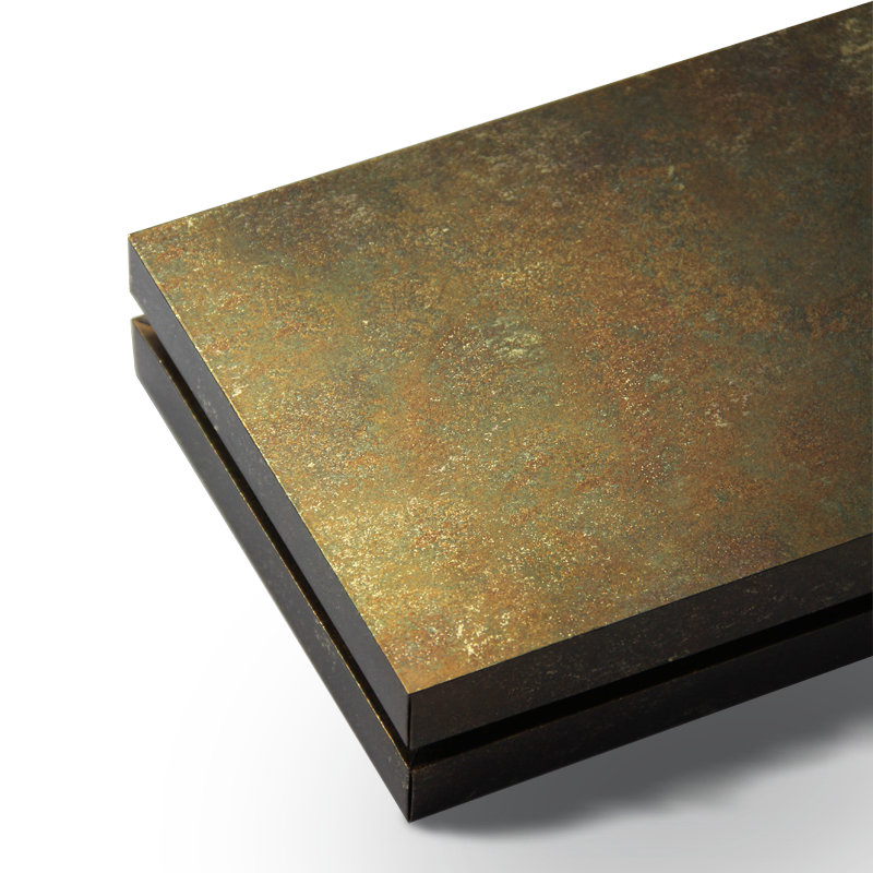 Handmade luxury gift box with a removable lid and olive patina texture printed on gold with a gold interior tray