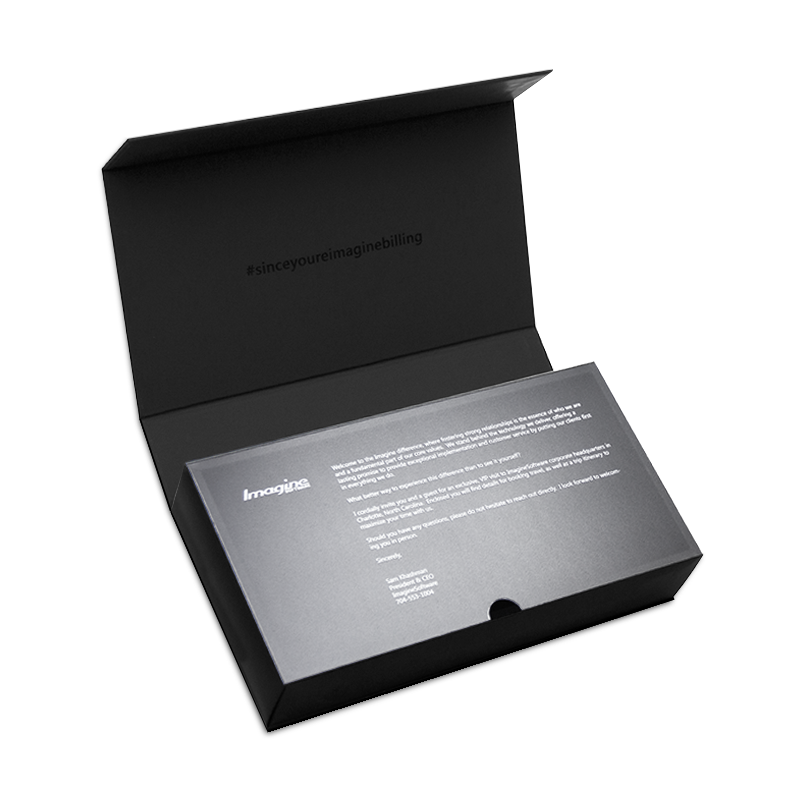 Black handmade luxury gift box with magnetic closure and an acetate reveal
