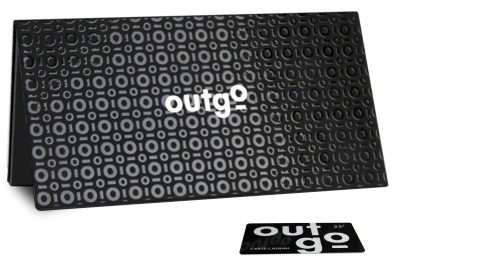 Madovar black gift card holder with custom printing for Outgo