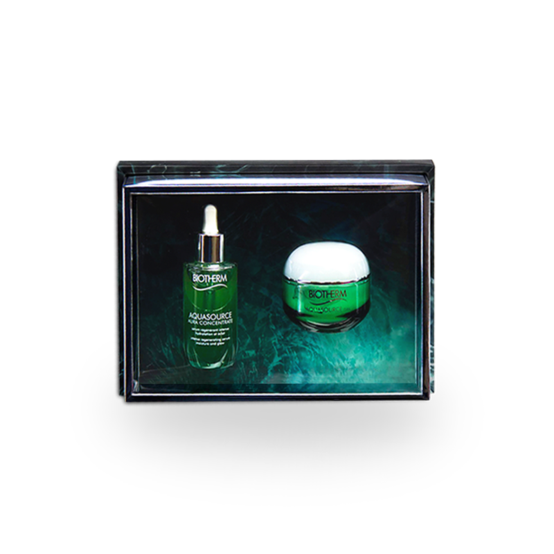 Handmade cosmetic luxury gift box with removable lid and acetate insert for BIOTHERM