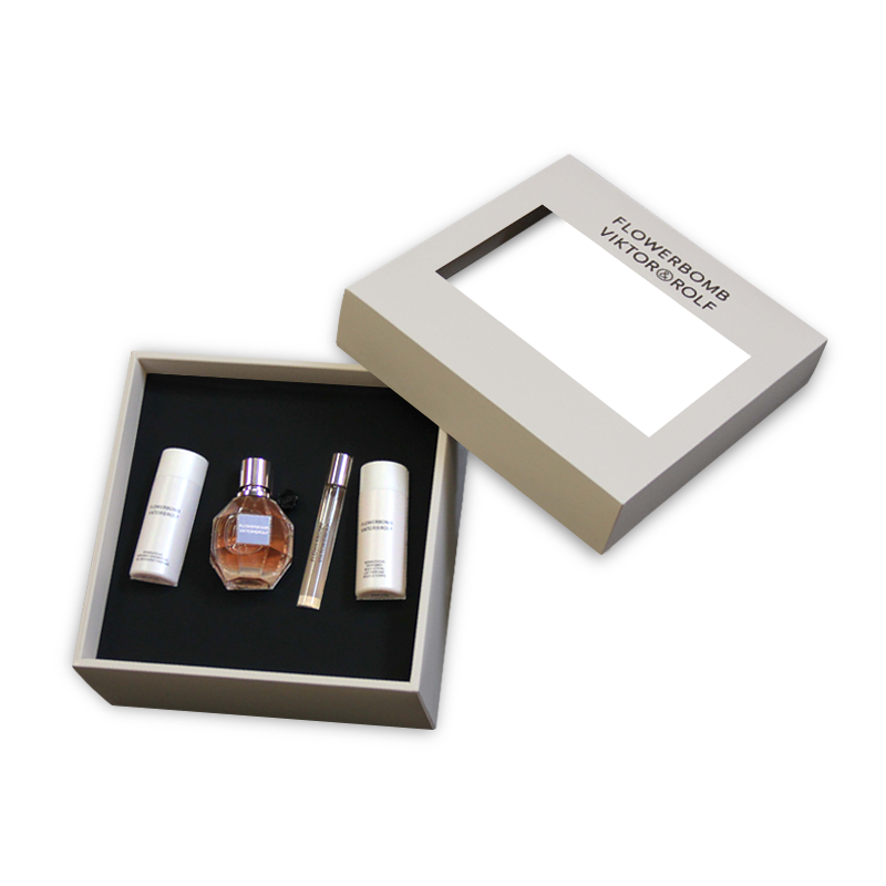 Handmade cosmetic luxury gift box with removable lid, custom made insert and transparent window for Victor @ Rolf