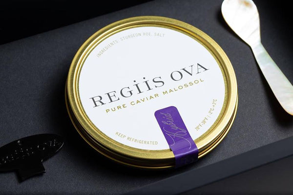 Close-up of Regiis Ova caviar gift set
