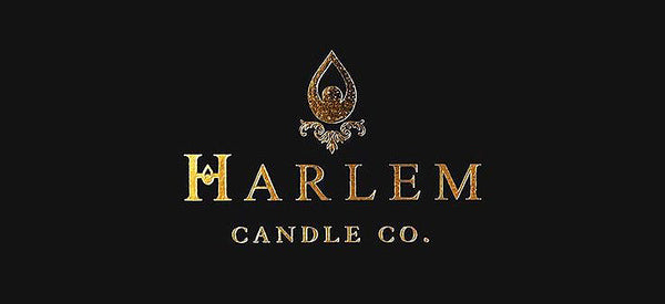 Gold hot foil stamped Harlem Candle Co. logo