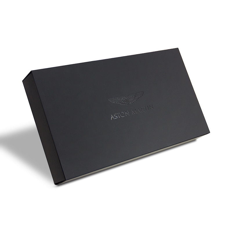 Hand made, multi tray, luxury gift box with magnetic closure for Aston Martin