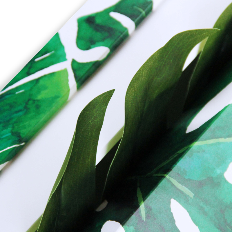 Hand made cosmetic luxury gift box removable lid, custom made insert and color printing (palm leaves) for BIOTHERM