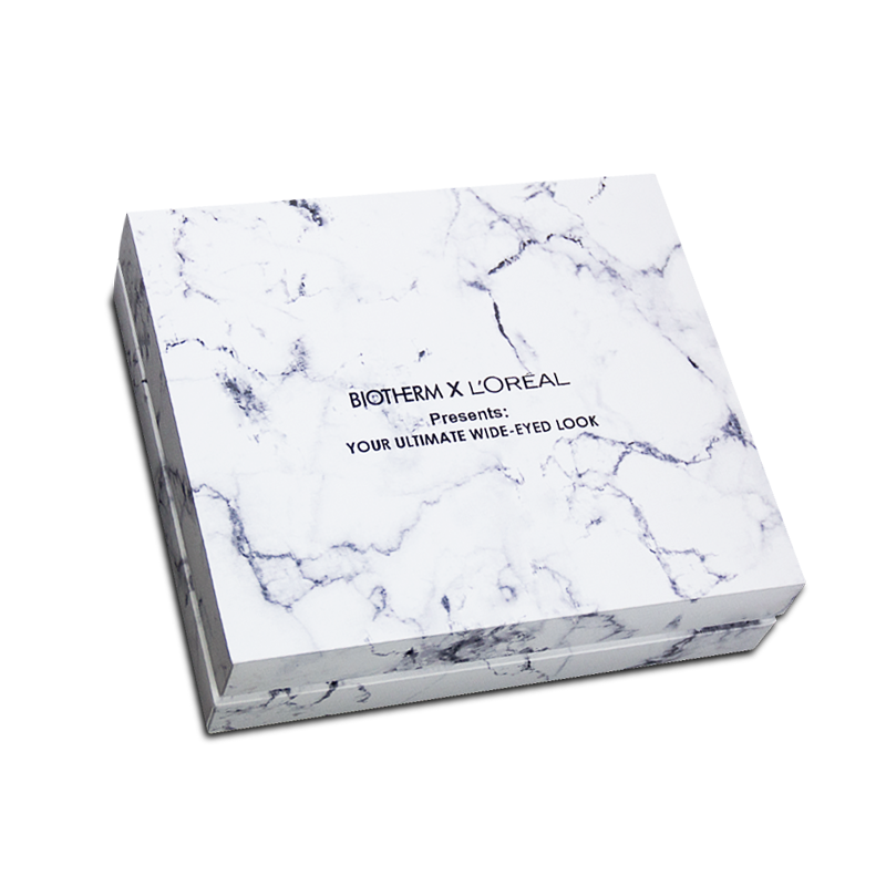 Hand made, marble, cosmetic luxury gift box, with removable lid and custom insert for Biotherm x L'oreal
