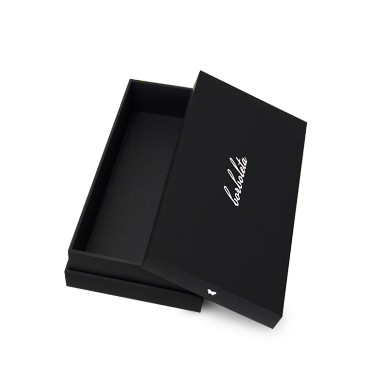 Custom, handmade luxury gift box with a removable lid, black matte print and white logo