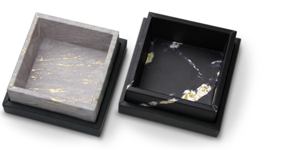 Madovar removable lid boxes with black bottom cover and tray printed with marble patterns