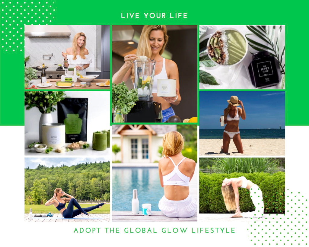 Global Glow's founder, Julie Katerine, showcasing the Global Glow products