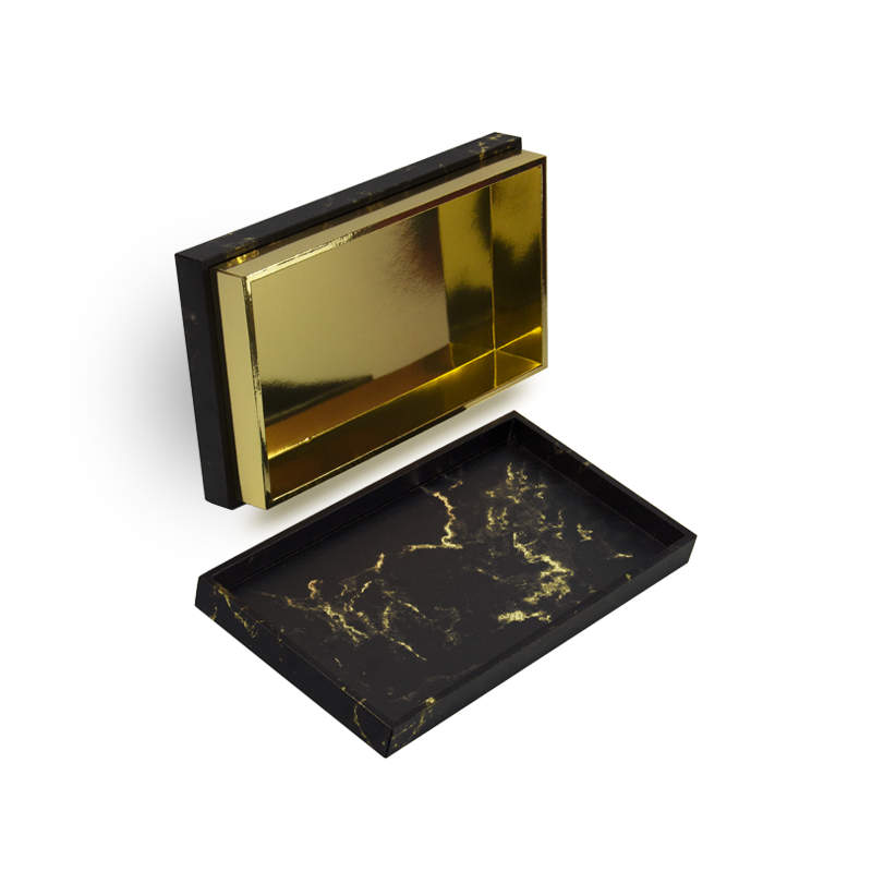 Hand made luxury gift box, with removable lid and black marble printed on gold