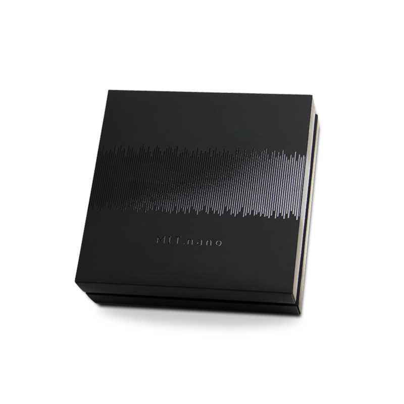 Hand made luxury gift box with removable lid and black gloss printed on matte black for MIT