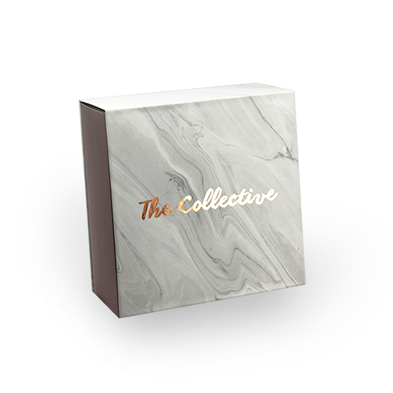Hand made luxury gift box with grey soft marble printing and foil stamped logo