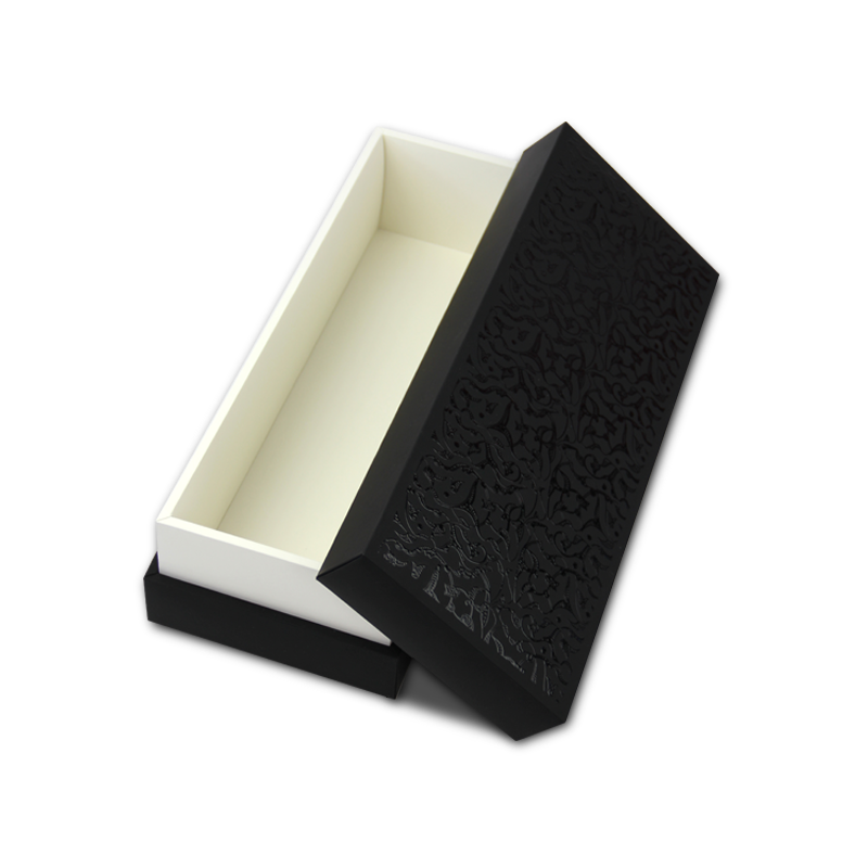 Hand made, black and white luxury gift box with removable lid and spot gloss printing