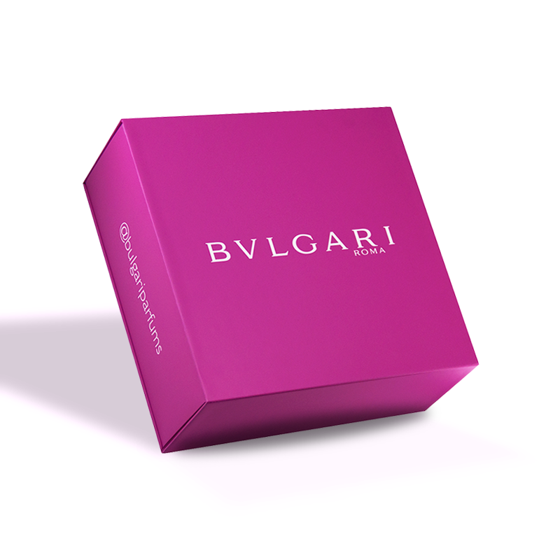 Hand made, cosmetic, luxury gift box, with magnetic closure and color printing for Bulgari