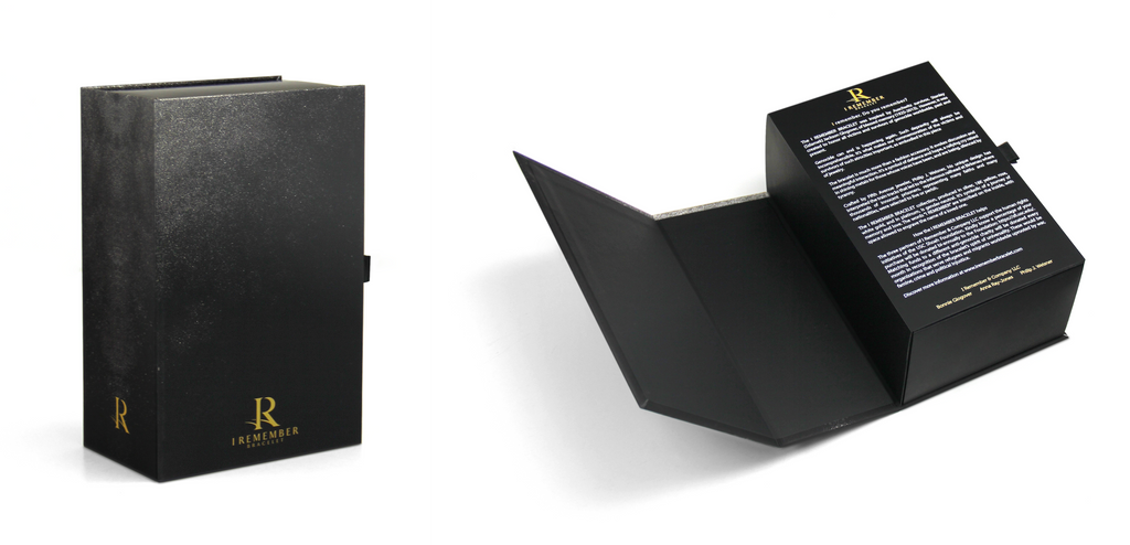 Madovar black book-style magnetic closure box with custom insert that holds the I Remember bracelet