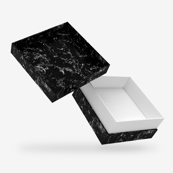 Square black marble removable lid box with white tray
