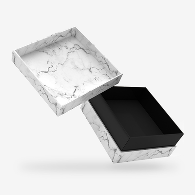 White Marble outside, Black inside Box with Lid - open
