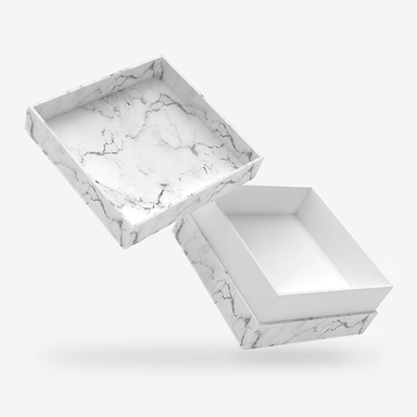 White marble outside, White inside Box with Lid - open