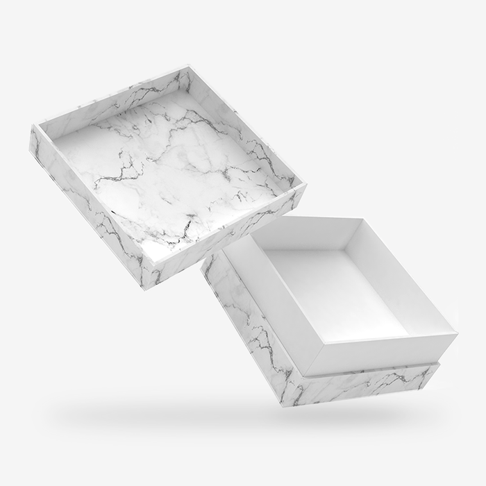 Square white tray - white marble removable lid box