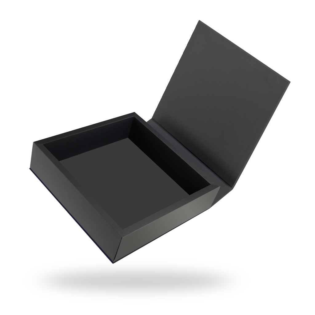 Black Square Magnetic Closure Box - open