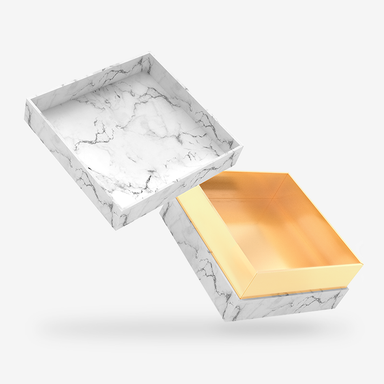 White marble outside, Gold inside Box with Lid - open