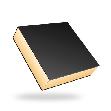 Black outside, Gold inside Square Magnetic box - closed
