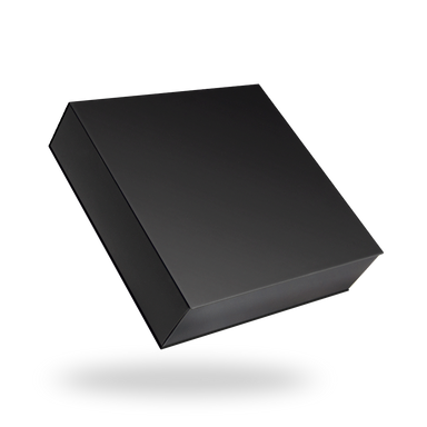 Square black tray - black lid magnetic closure box