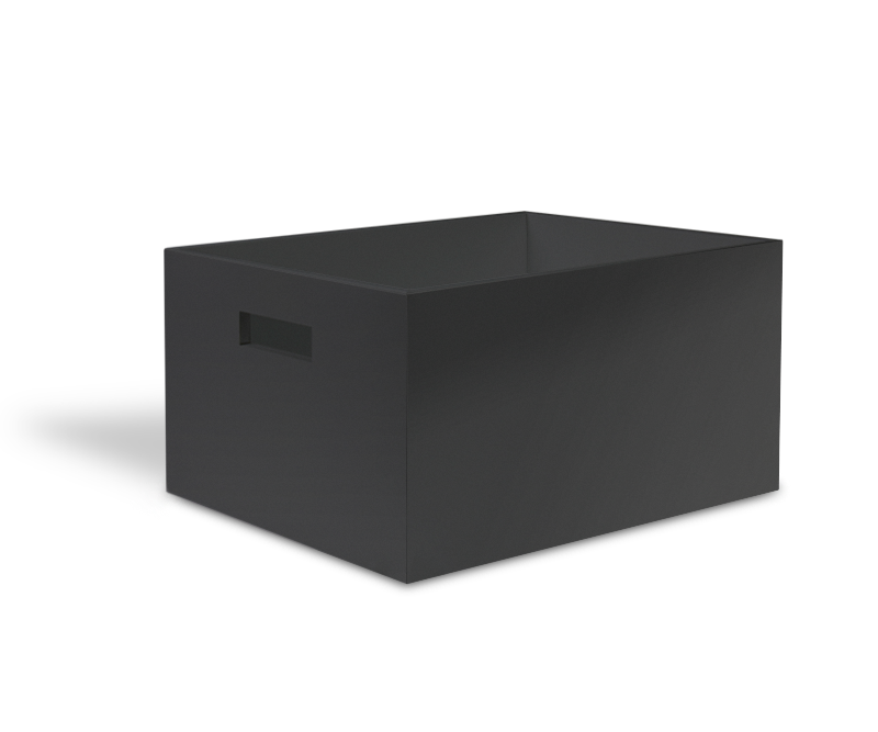 Black storage tray with lid